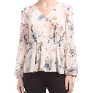 NWT Rebecca Taylor Meadow Flower Top Blouse Pink 0